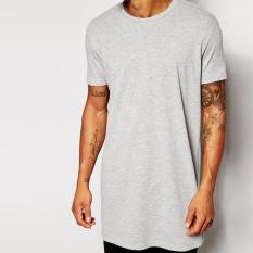 Mens Long T Shirt Pria Tops Hip Hop Tee Kaos Pria Lengan Pendek Longline Kasual Tee Shirts Grey-Intl