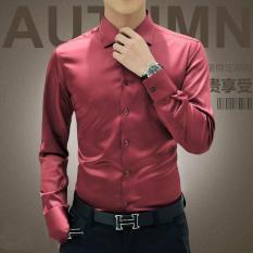 Toko Pria Mewah Kemeja Pernikahan Sutra Pesta Tuxedo Mercerized Katun Lengan Panjang Kemeja Merah Murah Di Tiongkok