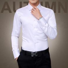 Promo Pria Mewah Kemeja Pernikahan Sutra Pesta Tuxedo Mercerized Cotton Long Sleeve Shirt Putih Zmgang