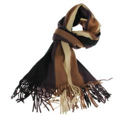 Diskon Pria Mewah Musim Dingin Hangat Tebal Lembut Panjang Lengan Bergaris Syal Selendang Panjang Berumbai Rumbai Kopi Internasional Branded