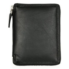 Mens Ritsleting Logam (Zip-Around) Dompet Kulit Hitam Kabana-Intl