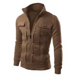 Model Mens Motor Style Stand Collar Slim Jaket Mantel Zipper Blazer Kopi Terbaru