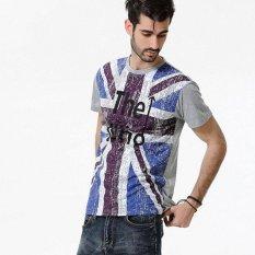 Pria Motif Bendera Inggris Katun Campuran Lengan Pendek T-shirt (Abu-abu Terang)-Intl