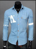 Review Pria Baru Fashion Slim Lengan Panjang Denim Shirt Light Blue Intl Oem