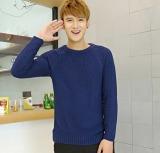 Jual Pria Baru Fashion Slim Lengan Panjang Pullover Sweater Warna Murni Biru Intl Original