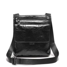 Review Mens Oil Wax Leather Messenger Bags Lightweight Shoulder Bags Black Intl Newcoast Di Tiongkok