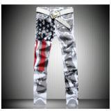 Beli Celana Pria Putih Dicetak Pria Jeans Celana Jeans Stretch Slim Percetakan Bendera Amerika Serikat Seken