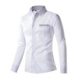 Jual Pria Katun Polos Panjang Lengan Kaos Kemeja Kerah Youth Fashion Leisure Bisnis Gaya Ukuran Besar Intl Wuxiang