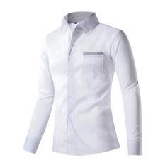 Spesifikasi Pria Katun Polos Panjang Lengan Kaos Kemeja Kerah Youth Fashion Leisure Bisnis Gaya Ukuran Besar Intl Murah