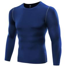 Harga Pria Pro Kebugaran Basket Berlari Dan Berlatih Sport Slim Cepat Dry Lengan Panjang T Shirts Blue B5019 Original