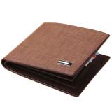 Spesifikasi Men S Pu Leather Short Slim Wallet With Flip Id Window Khaki Dan Harga