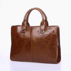 Harga Hemat Men S Pure Color Multifungsi Kapasitas Besar Leather Business Bag Kopi Intl