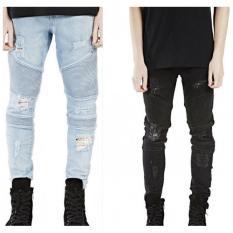 Celana Jeans Pria Robek Pengendara Sepeda Motor Ramping Pas Dicuci Moto Celana Denim-biru Muda