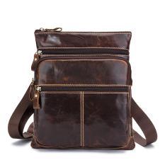 Harga Senior Pria Kulit Sapi Pack Shoulder Bag Warna Cokelat Seken