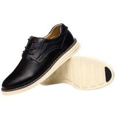 Sepatu Pria Kasual Di Fashion Pria Sepatu Kulit Asli Her Datar Hitam Oem Diskon 30