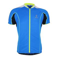 Beli Pria Jersey Lengan Pendek Untuk Bersepeda Tops Sepeda Bersepeda T Shirt Cepat Kering Biru Seken