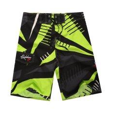 Pria Shorts Board Tinggi Elastis Celana Pantai untuk Renang (hijau)-Intl