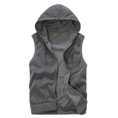 Jual Pria Hoodie Tanpa Lengan Santai Fashion Padat Warna Sportswear Sweatshirts Abu Abu Intl Lengkap