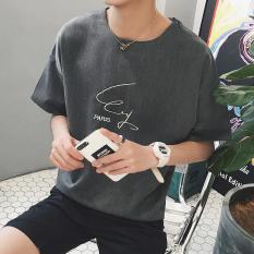 Spesifikasi Pria Slim Bulat Lengan Pendek Casual T Shirt Abu Abu Internasional Baru