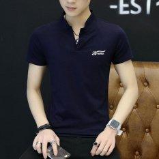 Spesifikasi Pria Kasual Slim Berleher V Berlengan Pendek T Shirt Biru Internasional Bagus