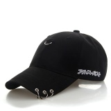Mens Snapback Hats Fashion K Pop Iron Ring Hats Adjustable Baseball Cap For Lovers Black Intl Promo Beli 1 Gratis 1