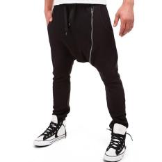 Pria Olah Raga Joggers Hip Hop Jogging Fitness Pant Miring Ritsleting Kasual Celana Celana Panjang Celana Trainer (Hitam)-Intl