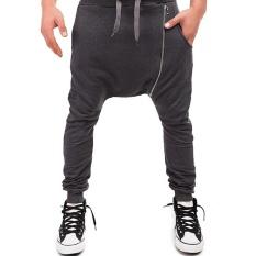Pria Olah Raga Joggers Hip Hop Jogging Fitness Pant Miring Ritsleting Kasual Celana Celana Celana Olahraga (Grey)-Intl