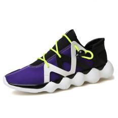 Cuci Gudang Pria Olah Raga Spring Buckle Sepatu Sneakers Ungu