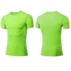 Pria Olahraga T-Shirt Training Basket Menjalankan Olahraga dan Kebugaran Gym Cepat Kering Tops Skintight Sangat Fleksibel Pakaian 1003 (neon Hijau) -Intl