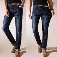 Mens Jeans Lurus Bernapas Elastis Jeans Musim Panas Tipis Denim Pants Besar Plus Ukuran Celana-Intl