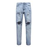 Pria Lurus Pria Lubang Desain Baru Slim Fit Jeans Biru Tertekan Ripped Pants Intl Original
