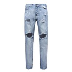 Cara Beli Pria Lurus Pria Lubang Desain Baru Slim Fit Jeans Biru Tertekan Ripped Pants Intl