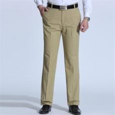 Pria Musim Panas Bisnis Casual Slim Fit Elastis Warna Murni Celana Celana (Khaki)-Intl