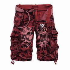 Men's Summer Fashion Outdoors Casual Kamuflase Longgar Sport Celana Pendek Kargo (Merah)-Intl