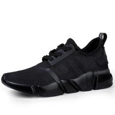 Men's Summer Mesh Breathable Running Sneakers Lightweight Platform Increase Sports Shoes(Black)