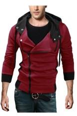 Jual Pria Berkerudung Tipis Miring Ritsleting Jaket Tipis Merah International Ori