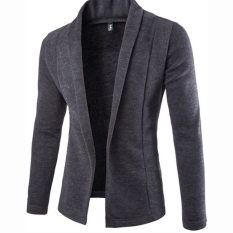 Jual Mens V Leher Cardigan Sweater Slim Jaket Abu Abu Gelap Intl Clothingloves Online