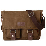 Beli Men S Vintage Canvas Sch**l Satchel Military Laptop Shoulder Messenger Bag Brown Intl Secara Angsuran