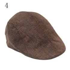 Pria antik bermotif V puncaknya topi baret topi datar balap Country Golf bagus kopi - International