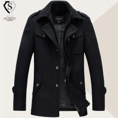 Mens Winter Bisnis Single-breasted Jas Hujan Turn-down Collar Casual Suit Overcoat Hitam-Intl