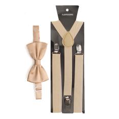 Ulasan Lengkap Mens Womens Clip On Suspenders Elastic Y Shape Adjustable Braces And Bow Tie Beige Intl