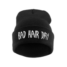 Model Mens Womens Hip Hop Cap Bad Hair Day Rajutan Acrylicbeanie Hat Hitam Intl Terbaru