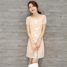 Toko Menurut Korea Fashion Style Dalam Baru Musim Semi Mencetak Gaun Setengah Panjang Rok Merah Muda Online Terpercaya