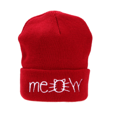 Kualitas Meow Cap Winter Casual Hip Hop Knitted Wool Skullies Beanie Hat Red Intl Vakind