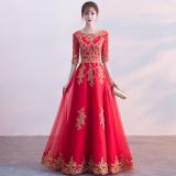 Harga Termurah Merah Baru Musim Gugur Dan Dingin Slim Gaun Malam Baju Pelayanan Merah Model Panjang