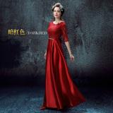 Harga Musim Semi Merah Dan Baru Perjamuan Gaun Malam Baju Pelayanan Arak Anggur Warna Lengan Sedang Oem Tiongkok