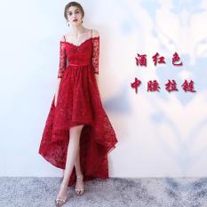 Cuci Gudang Musim Semi Merah Dan Baru Slim Gaun Malam Baju Pelayanan Arak Anggur Warna Bagian Ritsleting
