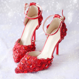 Cuci Gudang Merah Horizontal Sabuk Menunjuk Perempuan Sandal Summer Sepatu Mempelai Wanita 7Cm Bagian Merah Sandal Summer Model Sepatu Wanita Sendal Wanita
