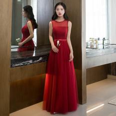 Gaun Malam Anggur Merah Mempelai Wanita Baru .