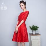 Diskon Merah Mempelai Wanita Baru Musim Semi Gaun Kecil Baju Pelayanan Merah Tua